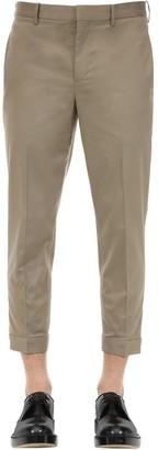 Neil Barrett SLIM COTTON BLEND CANVAS PANTS W/ ZIPS