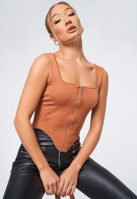 Missguided Tall Stone Corset Zip Through Knit Top