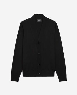 The Kooples Buttoned black wool cardigan, merino
