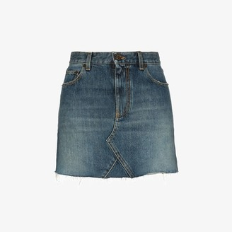 Saint Laurent Raw Edge Denim Mini Skirt