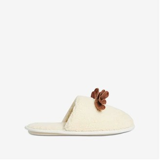 Joe Fresh Unisex Reindeer Slippers, Beige (Size L)