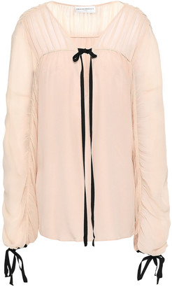 Amanda Wakeley Lace-up Silk-georgette Blouse
