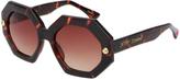 Betsey Johnson Tan Tortoise Fashion Octagon Sunglasses