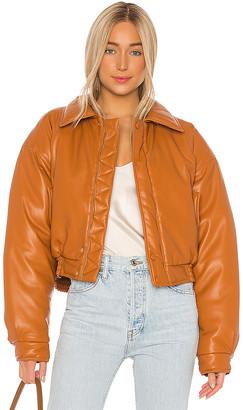 Nanushka Bomi Faux Leather Bomber Jacket