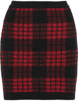 Balmain Tartan Jacquard-knit Mini Skirt - Red