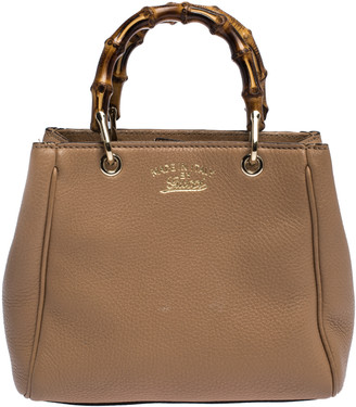 Gucci Beige Leather Mini Bamboo Top Handle Bag