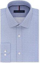Tommy Hilfiger Men's Slim-Fit Non-Iron Blue Geo-Print Dress Shirt