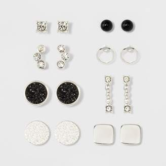 A New Day One Clear Stone, One Open Circle, Two Flat Circles, One Square, One Bar, One Pave Circle & Cluster of Two Stones Earring Set Silver