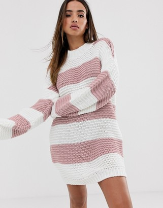 In The Style Stripe Chunky Oversized Sweater Dress-Pink