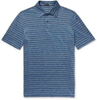 Rubinacci Striped Slub-Linen Polo Shirt