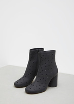 Maison Margiela black perforated leather mid ankle bootie