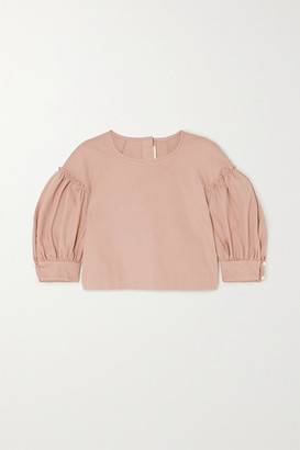 ANNA MASON Rose Cropped Cotton-twill Blouse - Beige