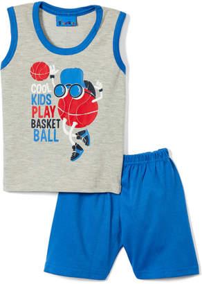 Sweet & Soft Boys' Casual Shorts Grey - Gray & Bright Blue 'Cool Kids Play Basketball' Tank & Shorts - Infant