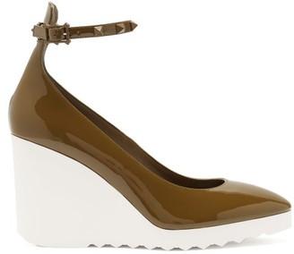 Valentino White Wave Wedge-heel Patent-leather Pumps - Khaki