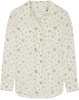 Equipment Slim Signature Floral-print Washed-silk Shirt - White