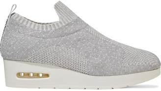 DKNY Angie Metallic Stretch-knit Wedge Slip-on Sneakers