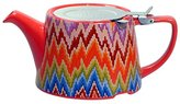 Kitchen Craft London Pottery Company Kaffe Fassett Oval-Filter Ceramic Infuser Teapot, 750 ml (26.5 fl oz) – Flame Stitch