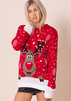 Missy Empire Red Rudolph Print Knitted Christmas Jumper