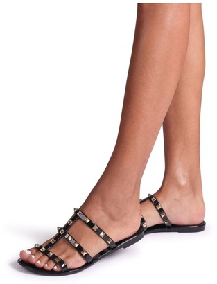 Linzi CHARMER - Black Slip On Studded Gladiator Slider