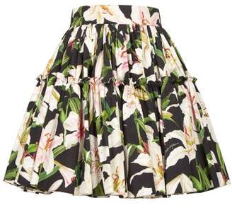 Dolce & Gabbana Lily-print Cotton-poplin Mini Skirt - Womens - Black Print