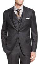 Isaia Micro-Check Three-Piece Suit, Dark Gray
