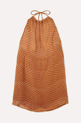 Cloe Cassandro - Indie Halterneck Printed Silk-crepon Mini Dress - Orange