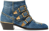 Chloé Susanna Embroidered Denim Ankle Boots - Mid denim