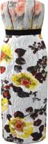 Oscar de la Renta Strapless Jacquard Floral Dress