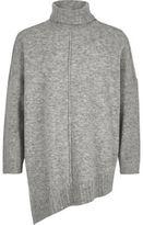 River Island Girls Grey knit asymmetric hem tunic