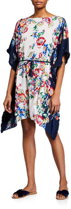 Johnny Was Plus Plus Size Maya Fringed Floral-Print Coverup Sun Dress