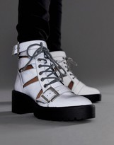 Asos DESIGN Rion chunky cut out boots in reflective