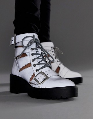 Asos Design DESIGN Rion chunky cut out boots in reflective-Silver