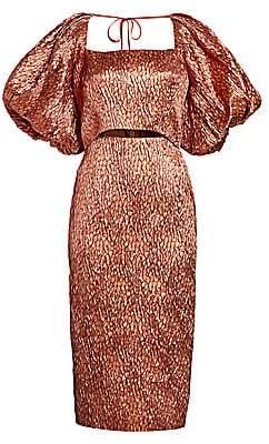 Rachel Comey Women's Limbara Metallic Silk-Jacquard Puff-Sleeve Cutout Sheath Dress