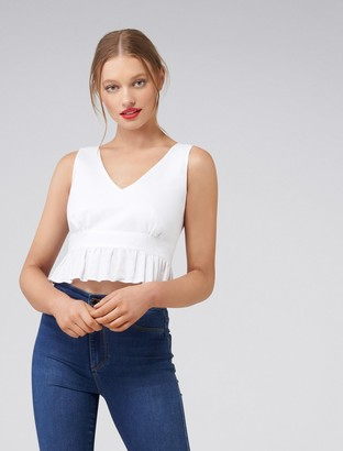 Forever New Viv V-Neck Fit and Flare Linen Tank - Porcelain - 4