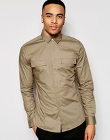 Asos Military Shirt In Skinny Fit Camel With Long Sleeves