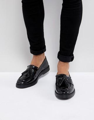 Asos Design DESIGN tassel loafers in black leather