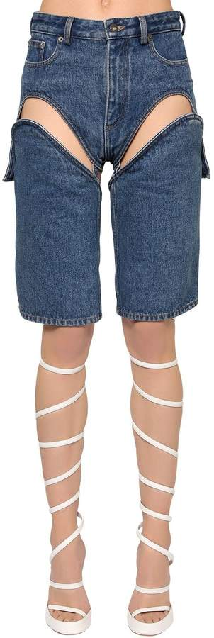 Y/Project Cutout Cotton Denim Shorts