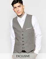 Heart & Dagger Dogtooth Waistcoat In Super Skinny Fit