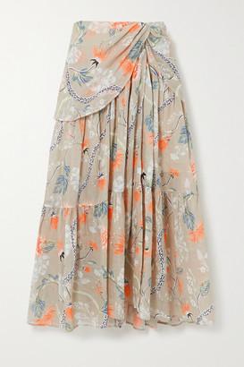 Chloé Ruched Floral-print Ramie Midi Skirt - Green