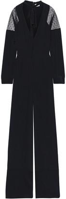 RED Valentino Point D'esprit-paneled Silk Crepe De Chine Jumpsuit