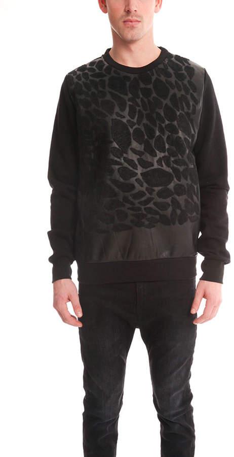 Giorgio Brato Leather Leopard Sweatshirt