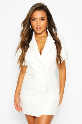 boohoo Petite Puff Sleeve Blazer Dress
