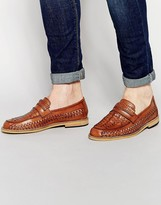 Frank Wright Woven Loafers In Tan