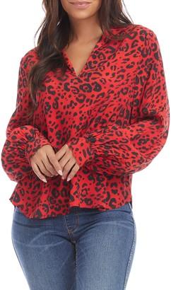 Karen Kane Animal Print Blouson Sleeve Crepe Shirt