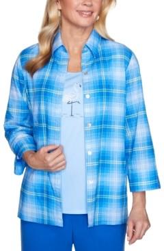 Alfred Dunner Petite Laguna Beach Plaid Layered-Look Shirt