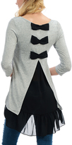 Celeste Heather Gray Back Bow-Accent Boatneck Hi-Low Top