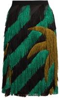 Marco De Vincenzo Palm tree-fringed pencil skirt