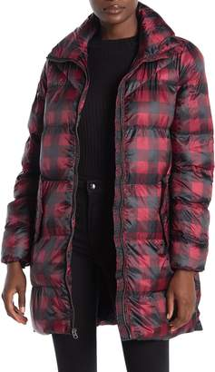 Lucky Brand Plaid Funnel Neck Zip Front Puffer Jacket