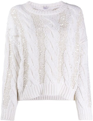Brunello Cucinelli Sequined Cable-Knit Jumper