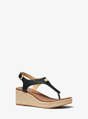 MICHAEL Michael Kors MK Laney Saffiano Leather Espadrille Wedge Sandal - Black - Michael Kors